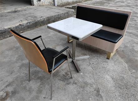 企业食堂不锈钢大理石高档食堂桌椅