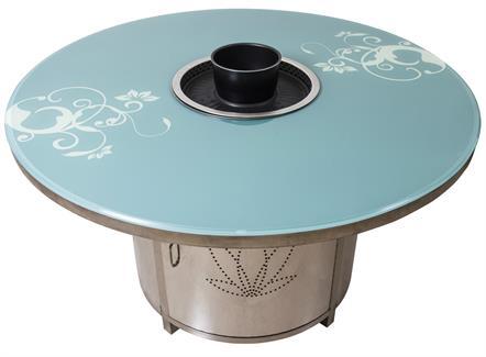 钢化玻璃台面无烟烧烤桌