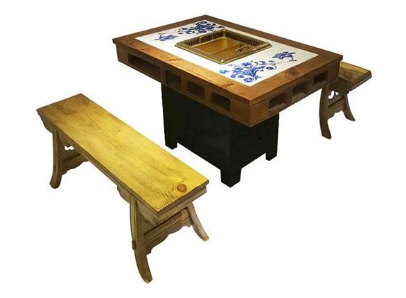 仿古实木雕花新中式无烟净化火锅桌椅
