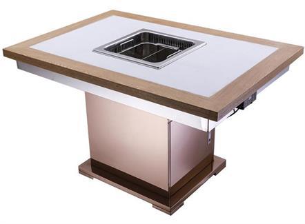 火锅店电磁炉一体自带排烟无烟净化火锅桌