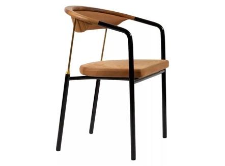 意式餐厅时尚铁艺极简扶手圈椅