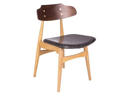 咖啡店简餐休闲真皮软包座垫靠背椅