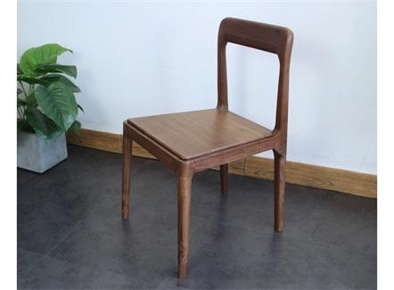 快餐简餐店黑胡桃木休闲简约餐椅