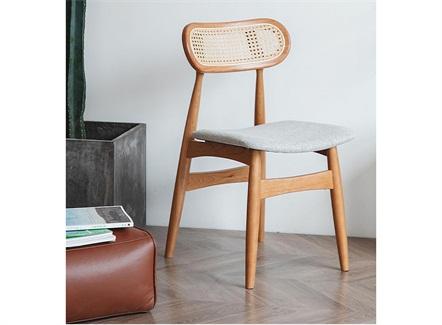 奶茶餐厅甜品店创意藤编实木靠背椅家具