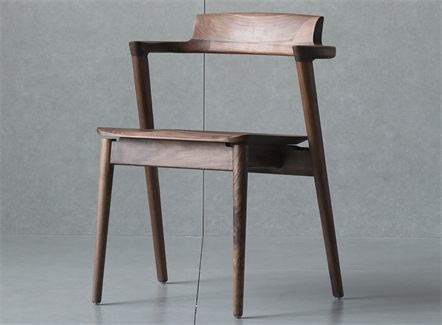 西式餐厅经典胡桃木休闲靠背椅
