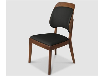 咖啡店简餐胡桃木皮革座垫靠背椅