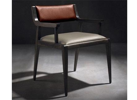 西式餐厅后现代实木PU休闲椅