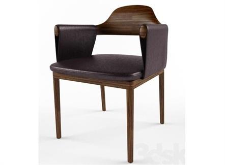 轻奢皮革时尚实木西餐厅带扶手靠背椅
