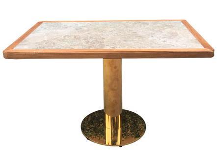 不锈钢桌脚实木包边大理