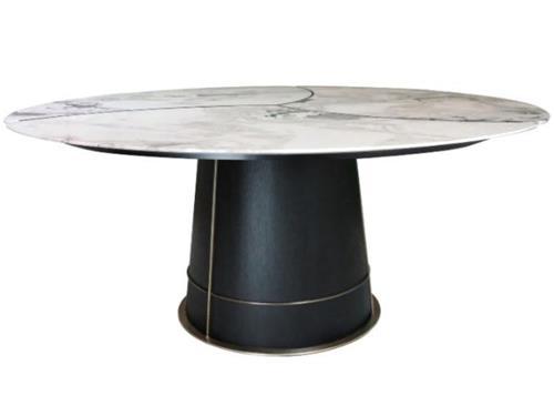 西餐厅新中式风格铁艺大理石餐桌