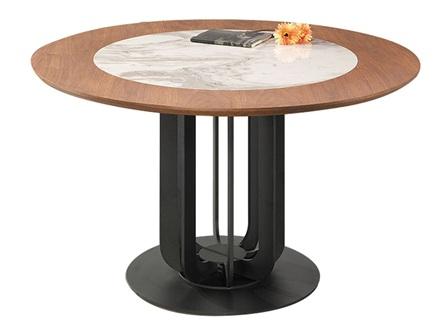西餐厅胡桃实木大理石时尚餐桌