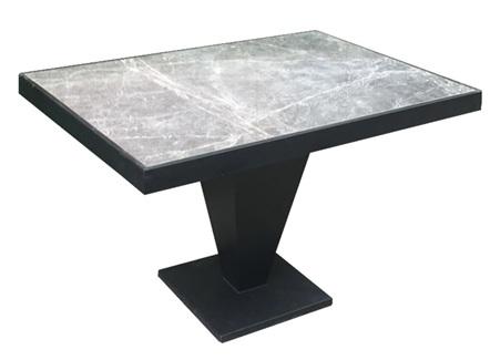北欧铁艺包边大理石西餐厅餐桌