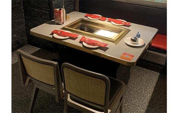 不锈钢封边大理石烤肉汤锅一体桌