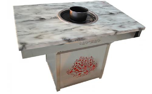 大理石烤肉汤锅一体桌子