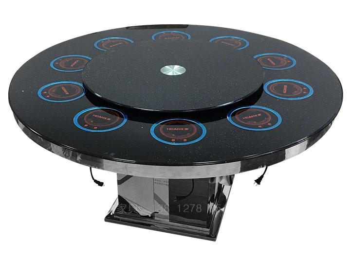 钢化玻璃火锅圆桌1.2米转盘电磁炉一人一锅火锅