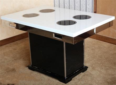 不锈钢桌脚一人一锅大理石电磁炉小火锅桌