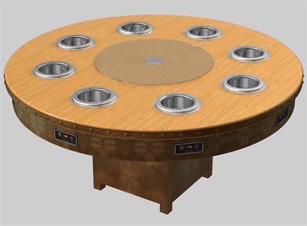 8人位一人一锅自助无烟实木小火锅桌子