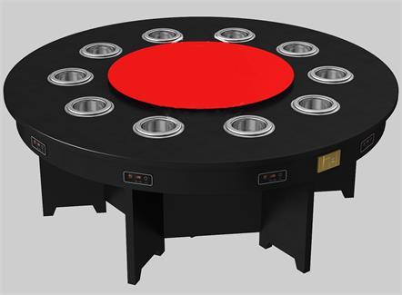 10人位大理石台面一人一锅电磁炉无烟火锅桌