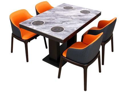 新式4人火锅电磁炉餐桌_电磁炉小火锅餐桌