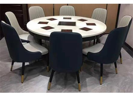 8人位一人一锅电磁炉大理石火锅桌子