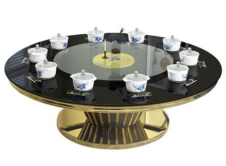 不锈钢玻璃轻奢十座位小火锅隐形电磁炉餐桌