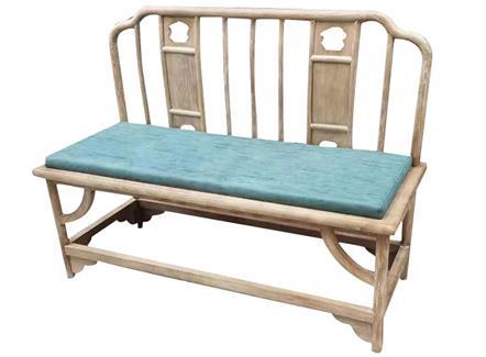茶楼湘菜馆中餐厅榆木皮艺软包双人椅