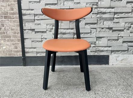 港式餐厅休闲简易皮革实木椅