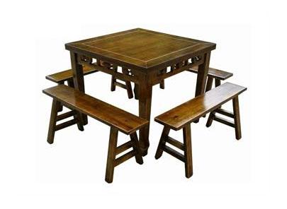 碳化仿古餐厅餐桌椅组合 八仙桌明清仿古镂花中