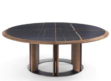 中餐厅酒楼宴会实木封边岩板大圆桌
