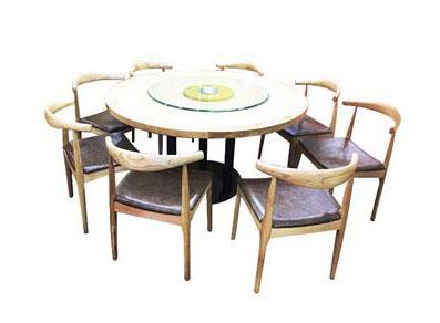 简约时尚中餐厅圆桌  实木桌面玻璃转盘桌子