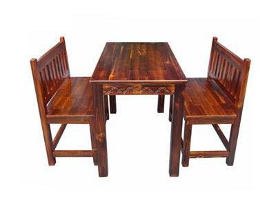 实木八仙桌椅组合 碳化木仿古中餐厅长条桌