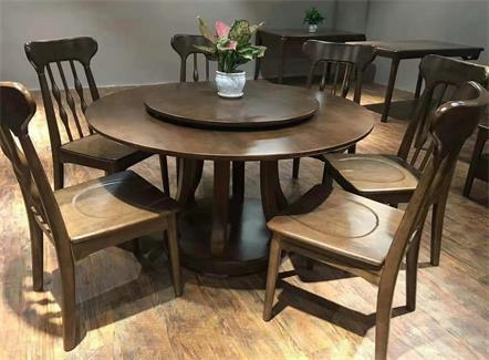 新中式酒楼宴会会所餐厅实木餐桌椅-厂家批发直