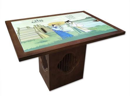 酒楼饭店青花瓷片桌新中式古典家具主题餐厅特色桌椅