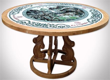 中餐厅饭店酒楼中国风山水画青花瓷实木古典瓷片圆桌