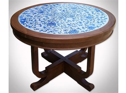 中餐厅酒楼会所古典新中式青花瓷餐桌圆桌