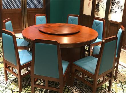 新中式中餐厅湘菜馆餐厅实木圆桌椅