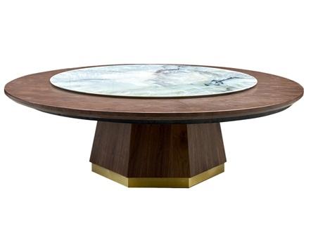 粤菜中餐厅新中式家具大理石圆餐桌