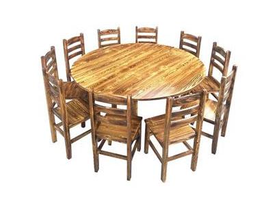 饭店中餐厅松木餐桌