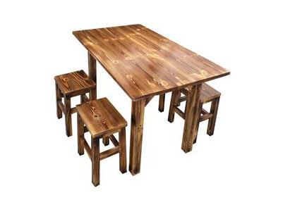 仿古炭烧木中餐厅方桌 饭店餐桌椅组