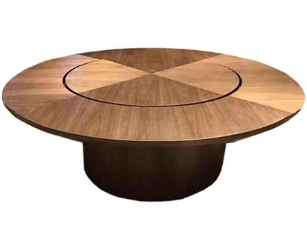 中餐厅新中式实木包厢带转盘大圆桌