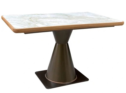 饭店中餐厅新中式实木封边大理石餐桌